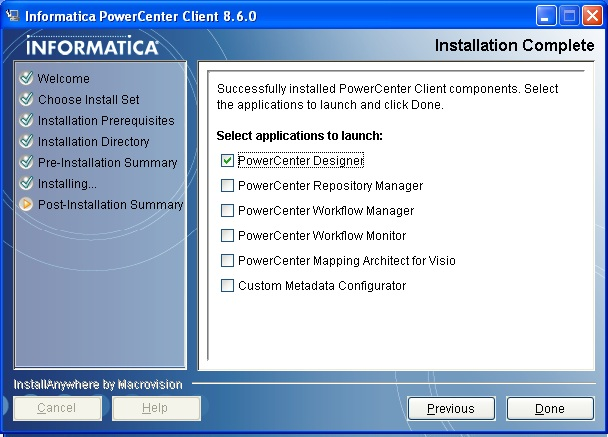 Informatica 8 6 clients installation 2 oracle business for Informatica 9 5 architecture