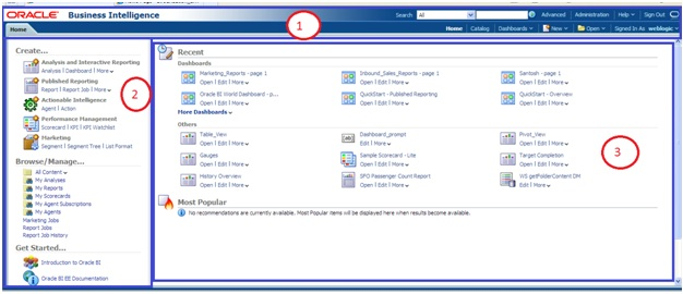 section 1 includes two menus upper menu which includes search advance search administration help etc and lower menu also referred to as global header as obiee administration